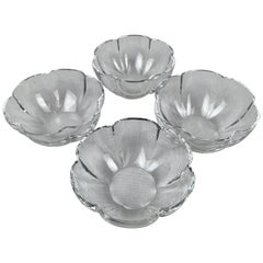 Baccarat Vintage Set of Four Clear Crystal Corail Lobed Melon Shaped Dishes