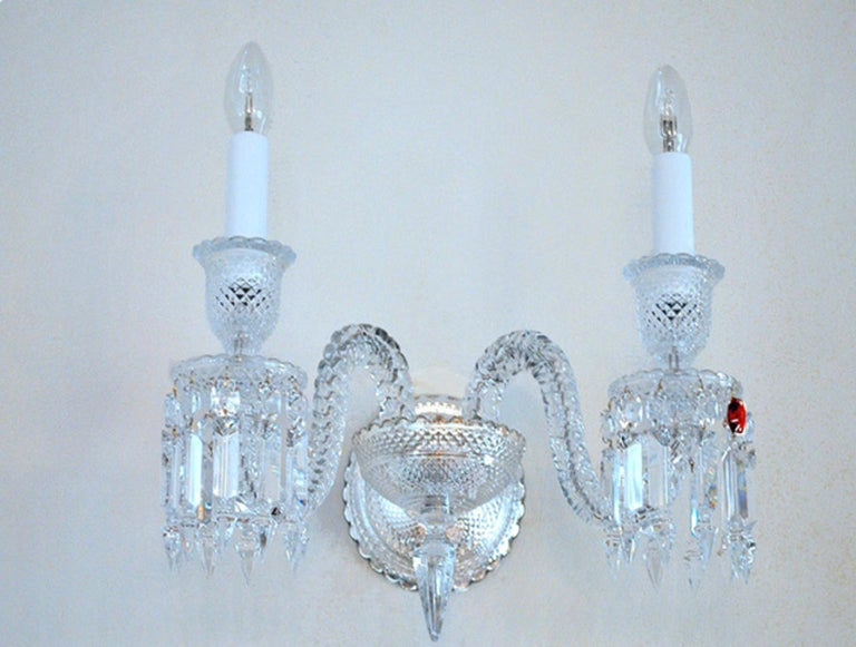 French Baccarat Wall Sconce Clear Crystal For Sale