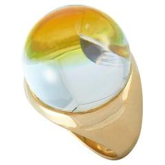 Baccarat Yellow Gold Crystal Cabochon Ring