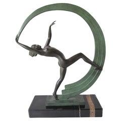 Bacchanale Dancer Sculpture in Art Deco Style by Janle for Max Le Verrier