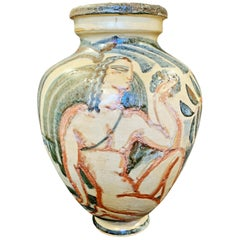 """Bacchus and Nymph,"" Superb Art Deco Vase with Nude Figures by Buthaud"