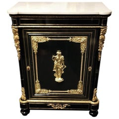 Bacchus Bronze and Carrara Marble Boulle Marquetry Cabinet Napoleon III, France