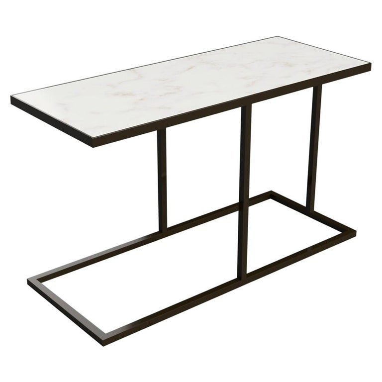 Bacco Cantilever Side Table in Marble and Powder Coated Steel For Sale
