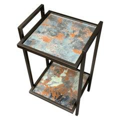 Bacco Console Side Table in Dark Bronze and Handmade Mirror Verre Églomisé