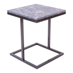 Bacco Squared Coffee Table in Grey Marble and Powder Coated Steel
