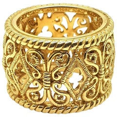 """""""Bach"""" 18 Karat Yellow Gold Ring with Ornament"""