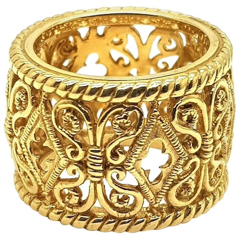 """""""Bach"""" 18 Karat Yellow Gold Ring with Ornament For Sale"""