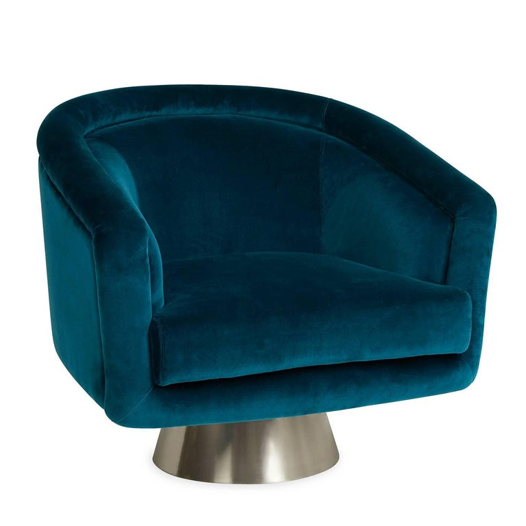 Modern Bacharach Velvet Swivel Chair For Sale