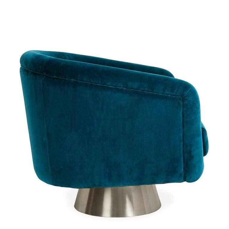 American Bacharach Velvet Swivel Chair For Sale