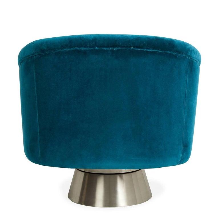 Brushed Bacharach Velvet Swivel Chair For Sale