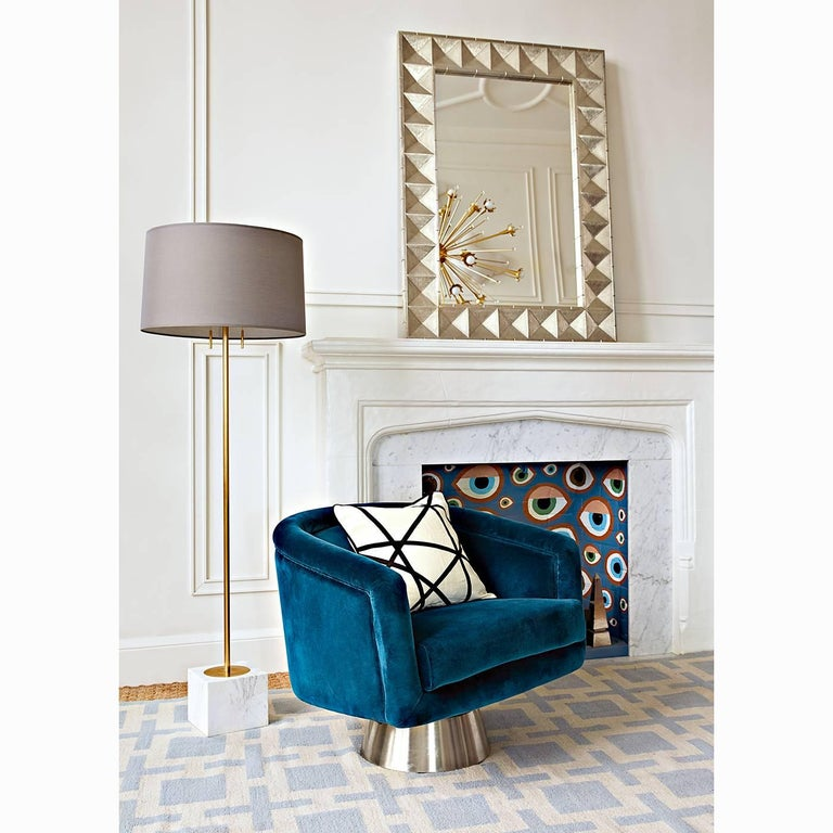 Bacharach Velvet Swivel Chair In New Condition For Sale In New York, NY