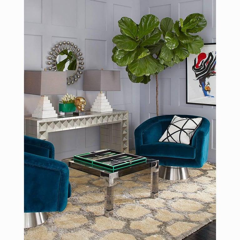 Contemporary Bacharach Velvet Swivel Chair For Sale