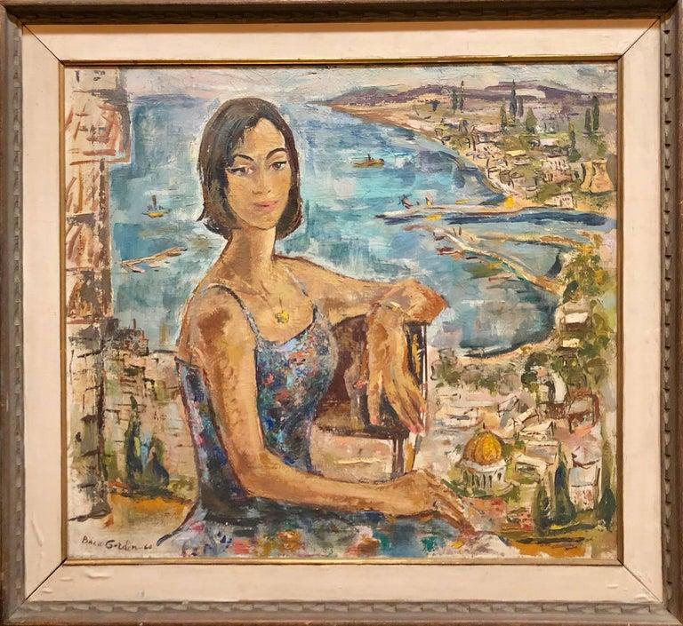 Mid Century Modernist Israeli 'Sabra in Haifa' Landscape Harbor Oil Painting - Brown Figurative Painting by Bacia Gordon