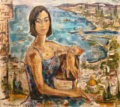 Mid Century Modernist Israeli 'Sabra in Haifa' Landscape Harbor Oil Painting