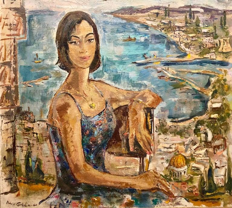 Bacia Gordon Figurative Painting - Mid Century Modernist Israeli 'Sabra in Haifa' Landscape Harbor Oil Painting