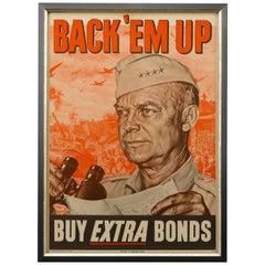 Back 'Em Up, General Dwight D. Eisenhower War Bond Patriotic Poster, circa 1944
