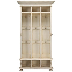 Back Hall Coat, Hat and Shoe Cubby Hole Cabinet, with Hanging Hooks