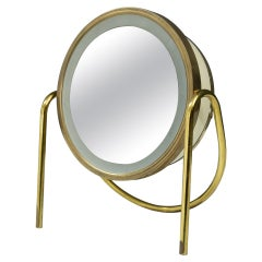 Back Lid Brass Vanity Magnified Table Mirror, 1970s