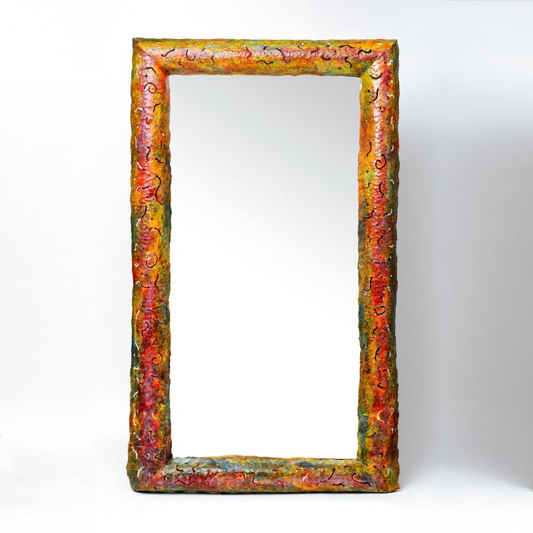 """Created by the leading designer of Czech Republic, Bohuslav Horak, this unique piece was created for a private client in the early 1990s. An admirer of Ettore Sottsass' work, the Czech artist adorned the metallic frame with the famous """"bacterio"""""""
