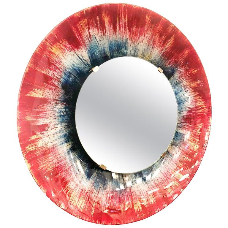 Back Painted Mirror by Santambrogio & De Berti For Sale