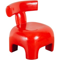 Back Rest Chair, Coral Lacquer by Robert Kuo, Handmade, Limited Edition