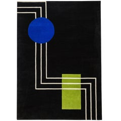 Hand Tufted Black Wool Rug w/ Blue Round & Green Rectangle Design by Carpets CC