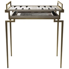 Backgammon Chess Table in Shagreen and Brass by R&Y Augousti