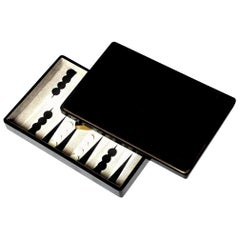 Backgammon Game, Sea Shell and Shagreen Details, Contemporary, in Stock, New