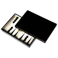 Backgammon Game, Sea Shell and Shagreen Details, Designed in a Box, in Stock