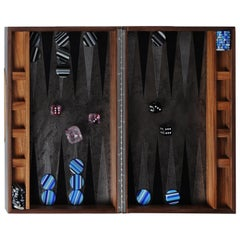 Backgammon Lineal Wood Case with Glass Chips and Dice