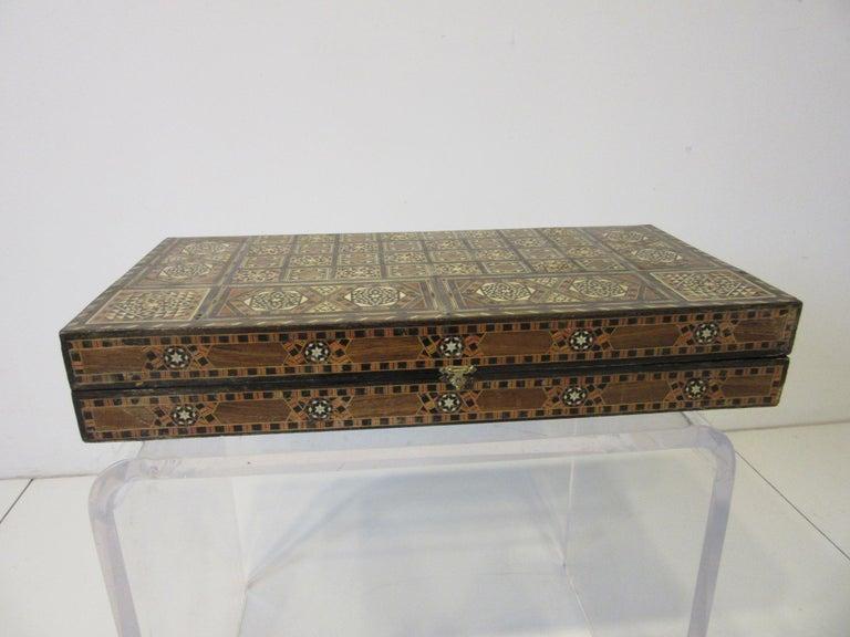 Backgammon Micro Mosaic Inlay Board / Moorish Syrian Styled In Good Condition In Cincinnati, OH