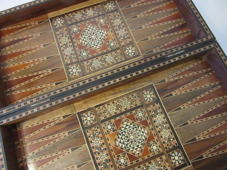 Wood Backgammon Micro Mosaic Inlay Board / Moorish Syrian Styled
