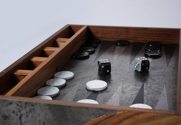 Steel Backgammon Roarshax Wood Case with Glass Chips and Dice For Sale
