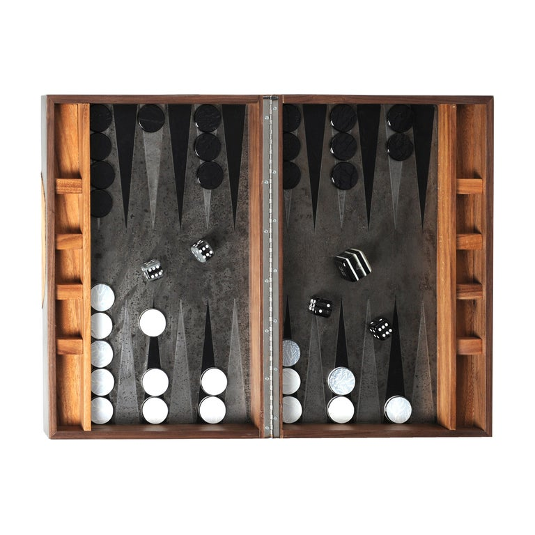 Backgammon Roarshax Wood Case with Glass Chips and Dice For Sale