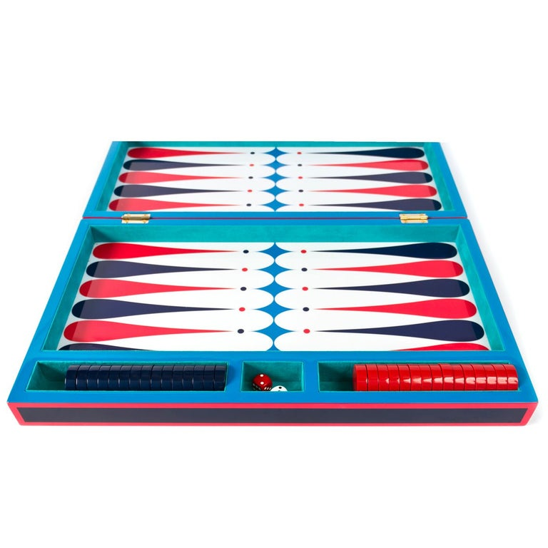 Modern Backgammon Set in Navy and Red Lacquer For Sale