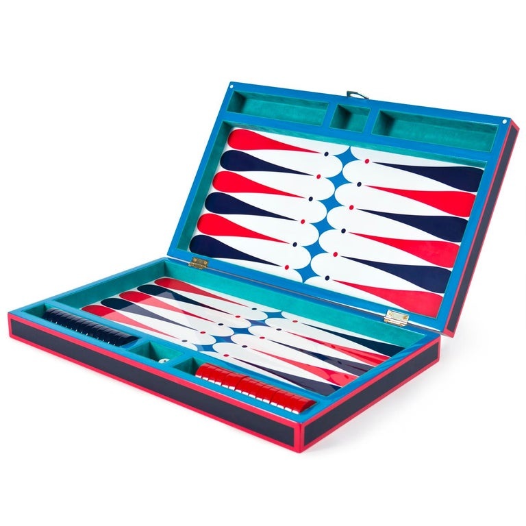 American Backgammon Set in Navy and Red Lacquer For Sale
