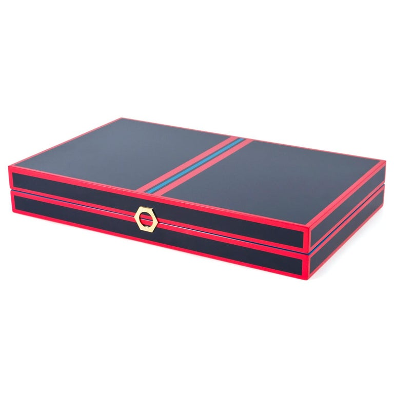 Backgammon Set in Navy and Red Lacquer In New Condition For Sale In New York, NY
