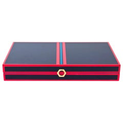 Backgammon Set in Navy and Red Lacquer