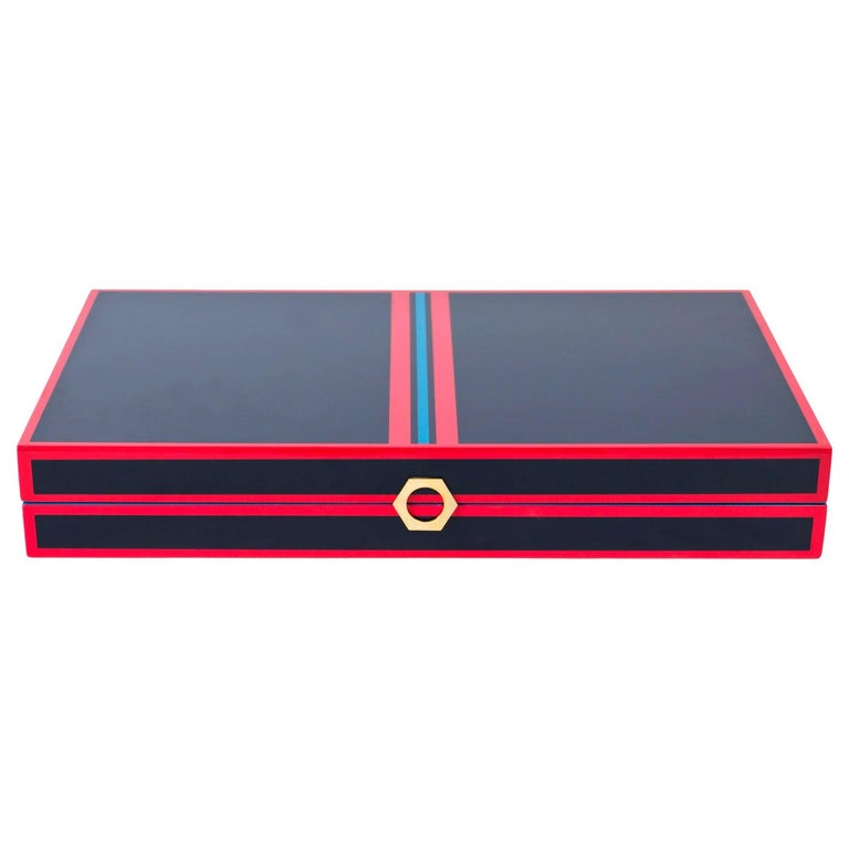 Backgammon Set in Navy and Red Lacquer For Sale