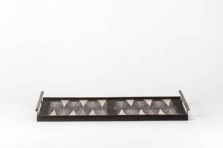 Contemporary Backgammon Tray in Shagreen, Shell and Bronze Patina Brass by Kifu, Paris For Sale