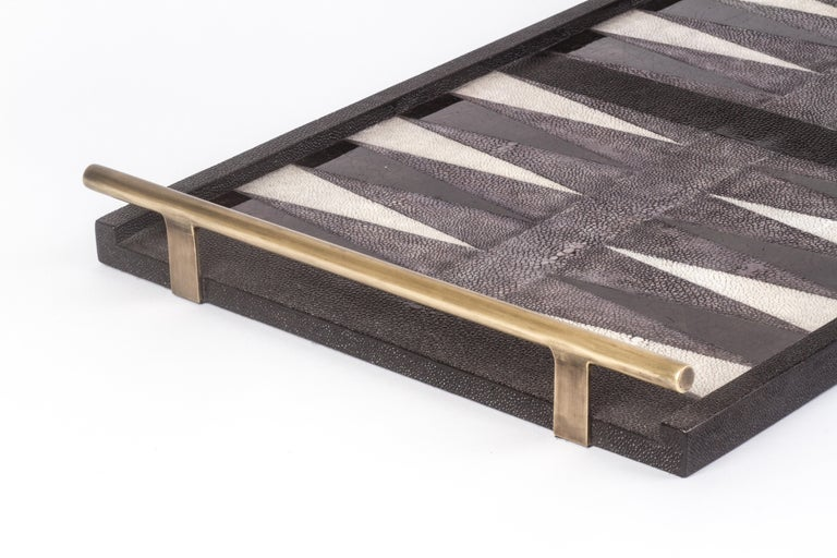 Hand-Crafted Backgammon Tray in Shagreen, Shell and Bronze Patina Brass by Kifu, Paris For Sale