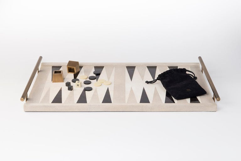 Hand-Crafted Backgammon Tray in Shagreen, Shell and Bronze Patina Brass by Kifu Paris For Sale