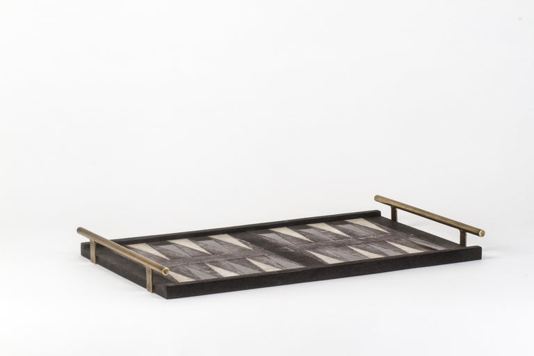 Contemporary Backgammon Tray in Shagreen, Shell and Bronze Patina Brass by Kifu Paris For Sale