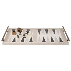 Backgammon Tray in Shagreen, Shell and Bronze Patina Brass by Kifu Paris