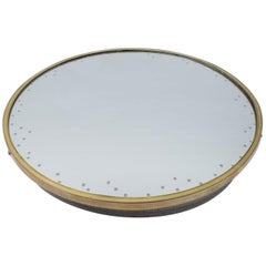 Backlit Brass wall Mirror With Engraved Stars and Perforated Plate Frame, 1950s