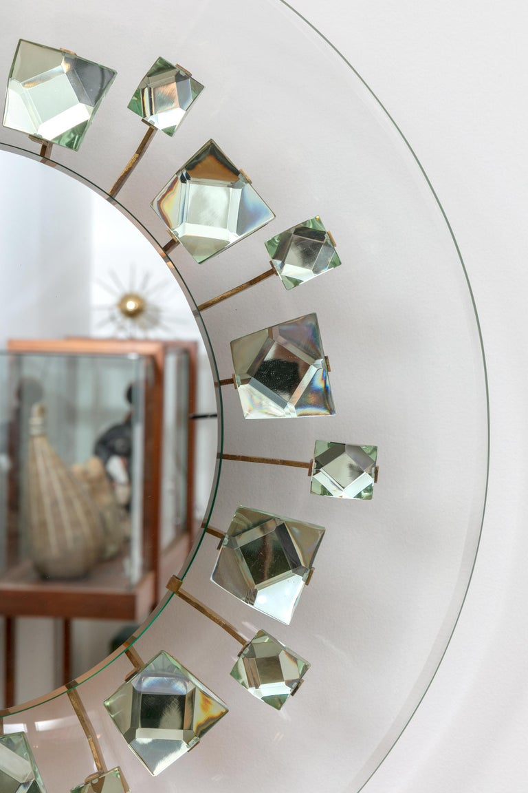 Italian Backlit Chisel Cut Glass Mirror Attributed to Max Ingrand for Fontana Arte For Sale