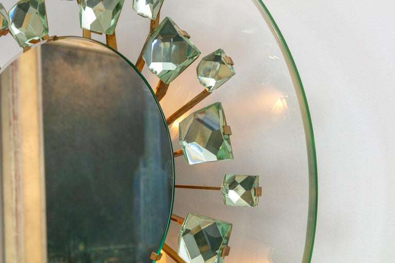 Backlit Chisel Cut Glass Mirror Attributed to Max Ingrand for Fontana Arte In Good Condition For Sale In New York, NY