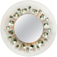Backlit Chisel Cut Glass Mirror in the Style of Mid-Century Modern, Italy 2018