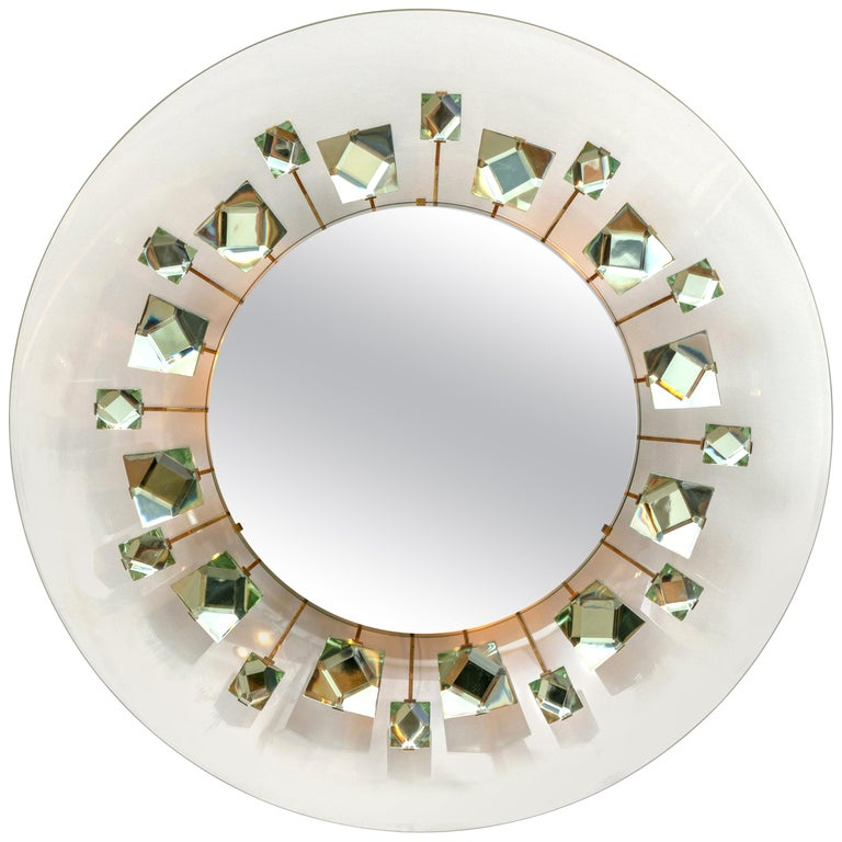 Backlit Chisel Cut Glass Mirror Attributed to Max Ingrand for Fontana Arte For Sale