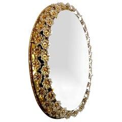 Backlit Flower Mirror, Gilt Brass Crystals, 1970
